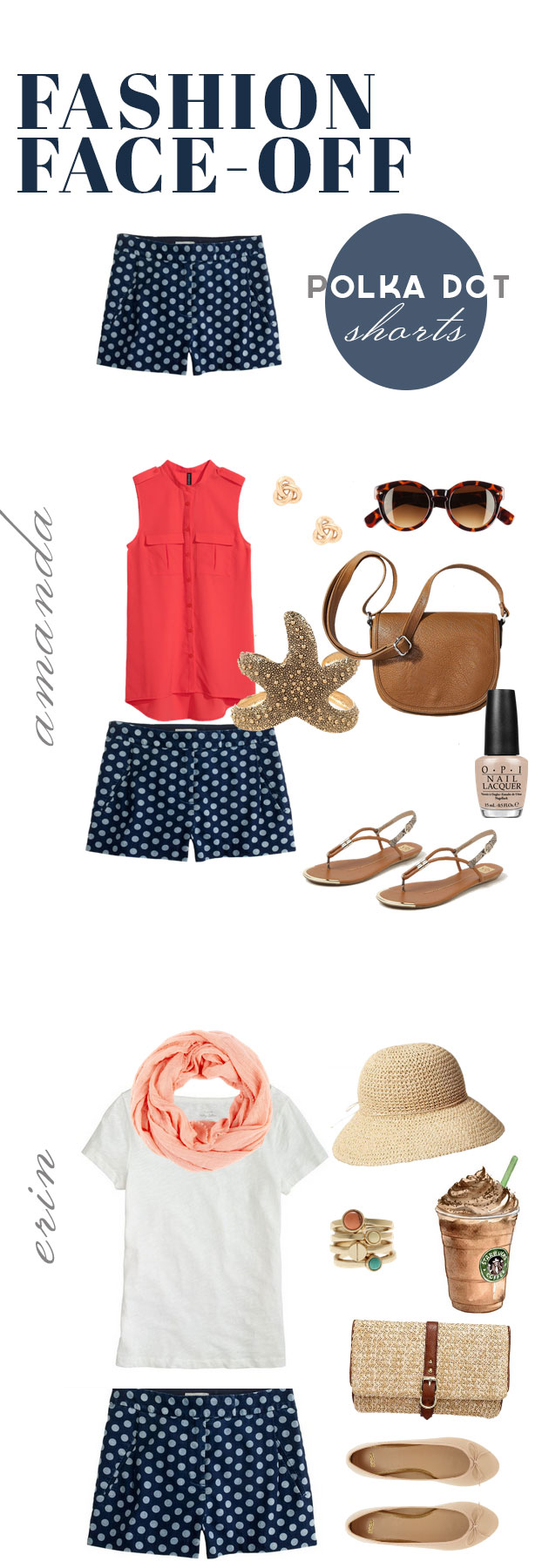 Polka dot shorts, styled two ways