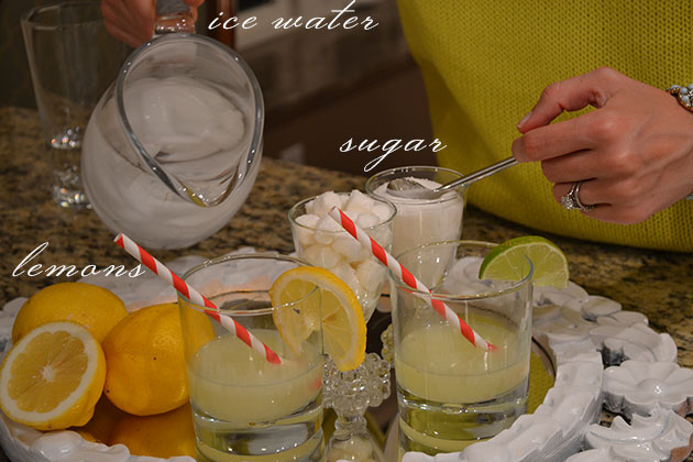 Ice water + sugar + lemons