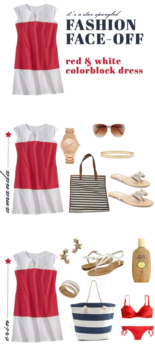 Fashion Face-Off: Red & White Colorblock Dress