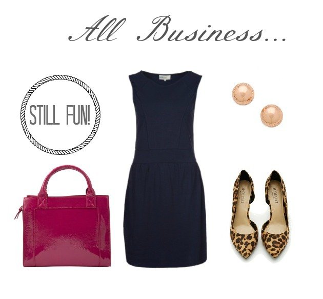 Navy dress, Pink patent bag, leopard flats RTC