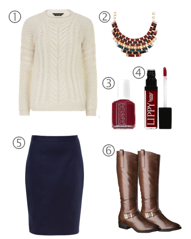 Fall Pairings: Cable Knit + a Pencil Skirt